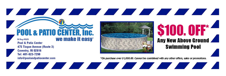 $100 Off Pool U0026 Patio Center Coupon